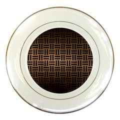 Woven1 Black Marble & Bronze Metal (r) Porcelain Plate by trendistuff