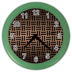 Woven1 Black Marble & Bronze Metal (r) Color Wall Clock by trendistuff
