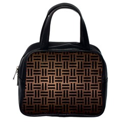 Woven1 Black Marble & Bronze Metal (r) Classic Handbag (one Side) by trendistuff