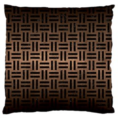 Woven1 Black Marble & Bronze Metal (r) Large Flano Cushion Case (two Sides) by trendistuff