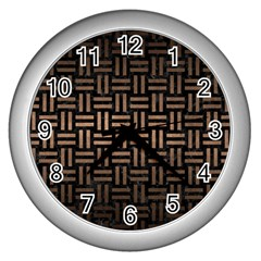 Woven1 Black Marble & Bronze Metal Wall Clock (silver) by trendistuff