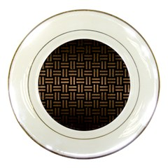 Woven1 Black Marble & Bronze Metal Porcelain Plate by trendistuff
