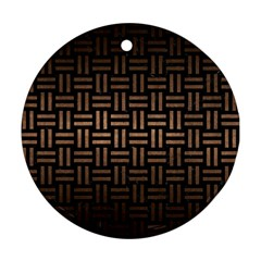 Woven1 Black Marble & Bronze Metal Round Ornament (two Sides) by trendistuff