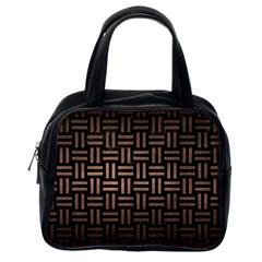Woven1 Black Marble & Bronze Metal Classic Handbag (one Side)