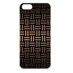 Woven1 Black Marble & Bronze Metal Apple Iphone 5 Seamless Case (white) by trendistuff