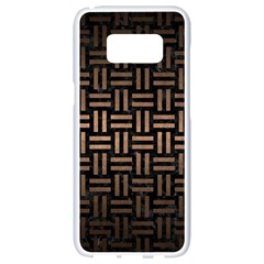 Woven1 Black Marble & Bronze Metal Samsung Galaxy S8 White Seamless Case by trendistuff