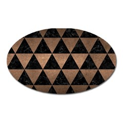 Triangle3 Black Marble & Bronze Metal Magnet (oval) by trendistuff