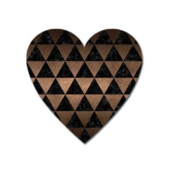 Triangle3 Black Marble & Bronze Metal Magnet (heart) by trendistuff
