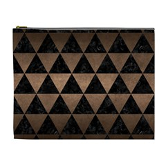 Triangle3 Black Marble & Bronze Metal Cosmetic Bag (xl) by trendistuff
