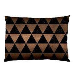 Triangle3 Black Marble & Bronze Metal Pillow Case (two Sides) by trendistuff