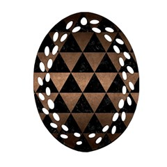 Triangle3 Black Marble & Bronze Metal Ornament (oval Filigree) by trendistuff