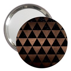 Triangle3 Black Marble & Bronze Metal 3  Handbag Mirror by trendistuff