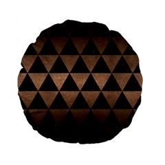 Triangle3 Black Marble & Bronze Metal Standard 15  Premium Flano Round Cushion  by trendistuff