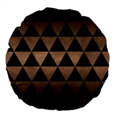 Triangle3 Black Marble & Bronze Metal Large 18  Premium Flano Round Cushion  by trendistuff