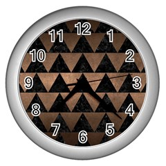 Triangle2 Black Marble & Bronze Metal Wall Clock (silver) by trendistuff