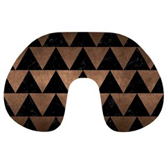 Triangle2 Black Marble & Bronze Metal Travel Neck Pillow by trendistuff
