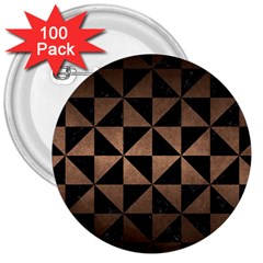 Triangle1 Black Marble & Bronze Metal 3  Button (100 Pack) by trendistuff
