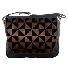 Triangle1 Black Marble & Bronze Metal Messenger Bag by trendistuff