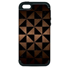 Triangle1 Black Marble & Bronze Metal Apple Iphone 5 Hardshell Case (pc+silicone) by trendistuff