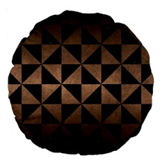 Triangle1 Black Marble & Bronze Metal Large 18  Premium Round Cushion  by trendistuff