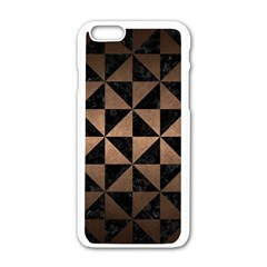 Triangle1 Black Marble & Bronze Metal Apple Iphone 6/6s White Enamel Case by trendistuff