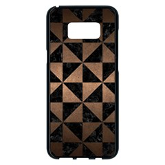 Triangle1 Black Marble & Bronze Metal Samsung Galaxy S8 Plus Black Seamless Case
