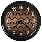 TILE1 BLACK MARBLE & BRONZE METAL (R) Wall Clock (Black) Front
