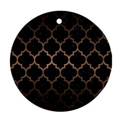 Tile1 Black Marble & Bronze Metal Round Ornament (two Sides) by trendistuff