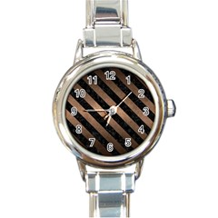 Stripes3 Black Marble & Bronze Metal (r) Round Italian Charm Watch by trendistuff