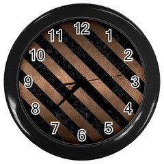 Stripes3 Black Marble & Bronze Metal (r) Wall Clock (black) by trendistuff