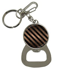 Stripes3 Black Marble & Bronze Metal (r) Bottle Opener Key Chain by trendistuff