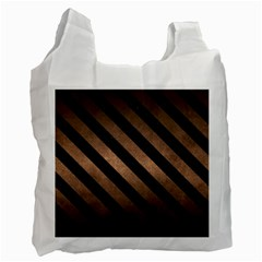 Stripes3 Black Marble & Bronze Metal (r) Recycle Bag (one Side) by trendistuff