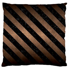 Stripes3 Black Marble & Bronze Metal (r) Large Cushion Case (two Sides) by trendistuff