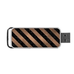 Stripes3 Black Marble & Bronze Metal (r) Portable Usb Flash (two Sides) by trendistuff