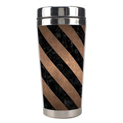 Stripes3 Black Marble & Bronze Metal (r) Stainless Steel Travel Tumbler by trendistuff