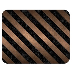 Stripes3 Black Marble & Bronze Metal (r) Double Sided Flano Blanket (medium) by trendistuff