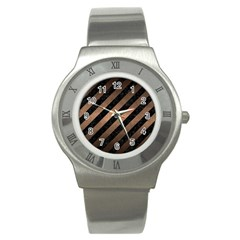 Stripes3 Black Marble & Bronze Metal Stainless Steel Watch by trendistuff