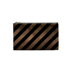 Stripes3 Black Marble & Bronze Metal Cosmetic Bag (small) by trendistuff