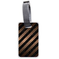 Stripes3 Black Marble & Bronze Metal Luggage Tag (two Sides) by trendistuff