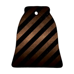 Stripes3 Black Marble & Bronze Metal Bell Ornament (two Sides) by trendistuff