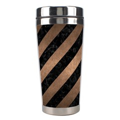 Stripes3 Black Marble & Bronze Metal Stainless Steel Travel Tumbler by trendistuff