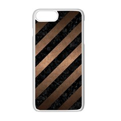 Stripes3 Black Marble & Bronze Metal Apple Iphone 7 Plus White Seamless Case by trendistuff