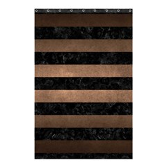 Stripes2 Black Marble & Bronze Metal Shower Curtain 48  X 72  (small) by trendistuff