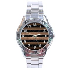 Stripes2 Black Marble & Bronze Metal Stainless Steel Analogue Watch by trendistuff