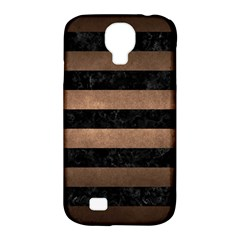Stripes2 Black Marble & Bronze Metal Samsung Galaxy S4 Classic Hardshell Case (pc+silicone) by trendistuff