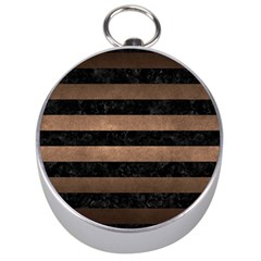 Stripes2 Black Marble & Bronze Metal Silver Compass by trendistuff