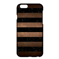 Stripes2 Black Marble & Bronze Metal Apple Iphone 6 Plus/6s Plus Hardshell Case by trendistuff