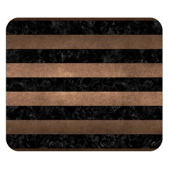 Stripes2 Black Marble & Bronze Metal Double Sided Flano Blanket (small) by trendistuff