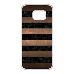 Stripes2 Black Marble & Bronze Metal Samsung Galaxy S7 Edge White Seamless Case by trendistuff