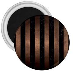 Stripes1 Black Marble & Bronze Metal 3  Magnet by trendistuff